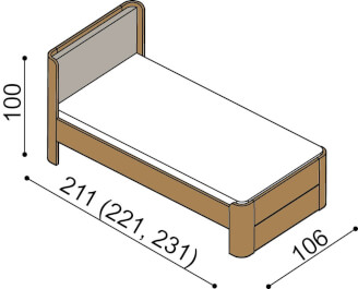 Bed LARA single bed with upholstered headboard
