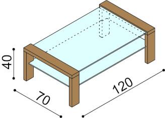 Coffee table RACHEL with glass