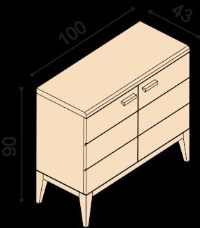 Chest of drawers MIA ZIRBE 2DD