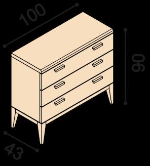 Chest of drawers MIA ZIRBE 2Z3