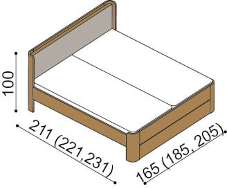 Bed LARA double bed with upholstered headboard