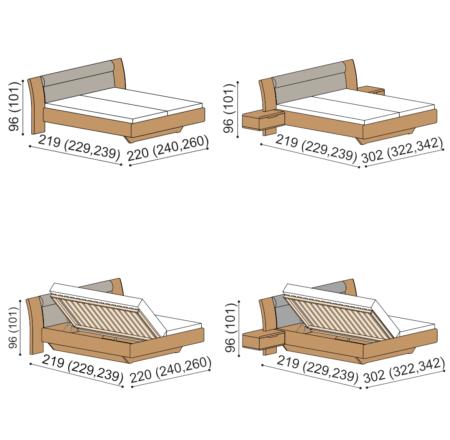 Varianty postele Flab
