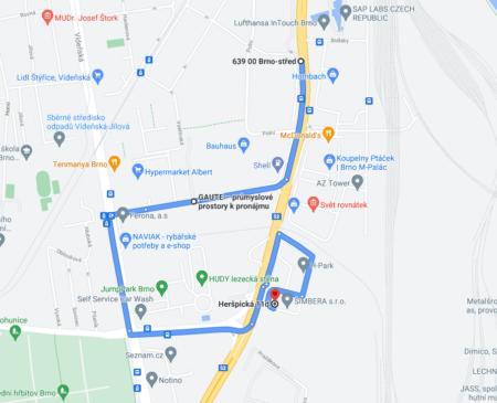 Trasa na prodejnu z centra